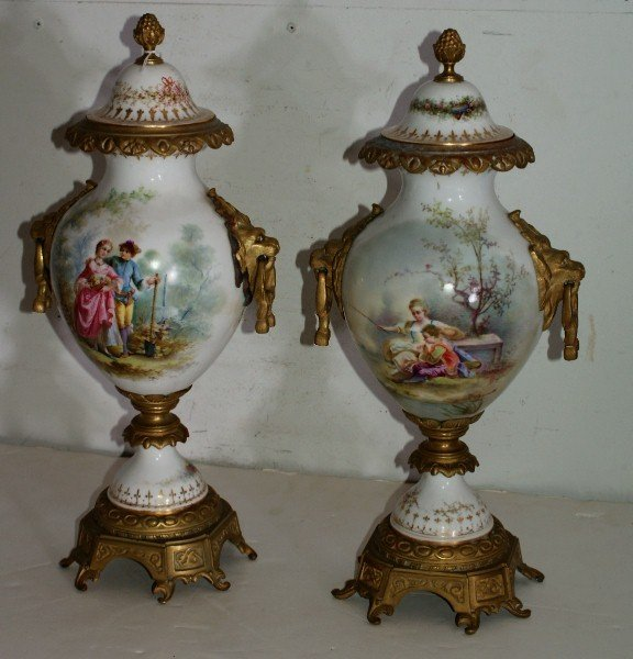 117: Fine pair of French 19th century Sevres porcelain