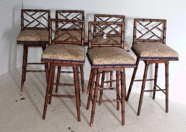 Six Regency style faux bamboo bar stools H 1