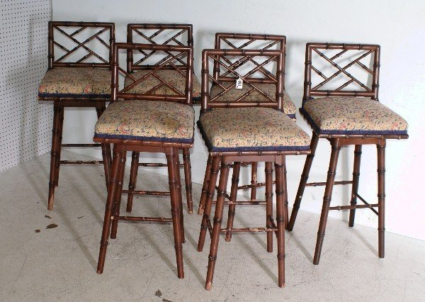 181: Six Regency style faux bamboo bar stools. H: 36 1/