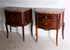 110E: Pr 19th C Louis XV style marble top commodes