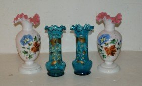 1: Two pairs of Bristol glass and enameled vases. Talle