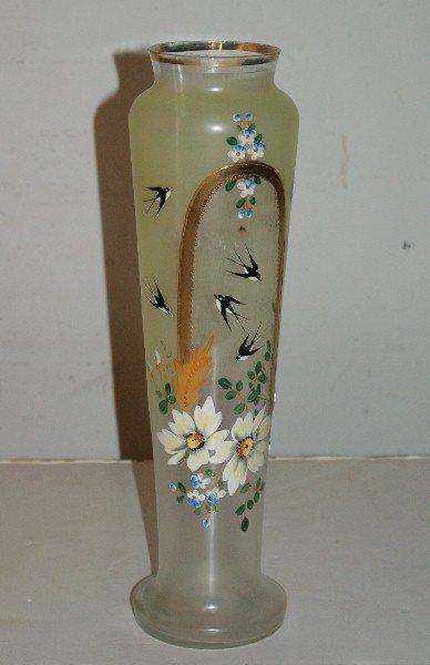 "2: Bristol glass and enamel vase. H: 14"""