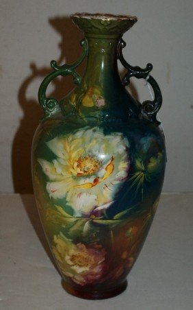 Royal Bonn Porcelain Two-handle Vase. H: 14 1/2""