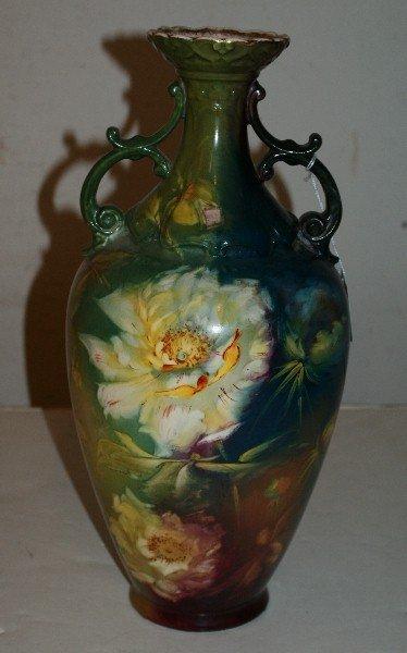 "3: Royal Bonn porcelain two-handle vase. H: 14 1/2"""