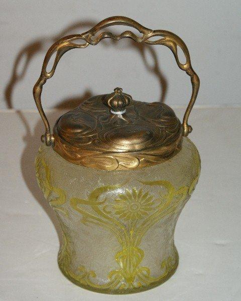 4: Art Nouveau etched glass gilt-metal covered jar. Hei