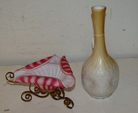 8: Two satin glass pieces; a vase and a bowl on metal s