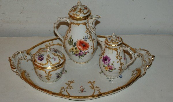 9: KPM porcelain four-piece chocolate set with tray. Ch