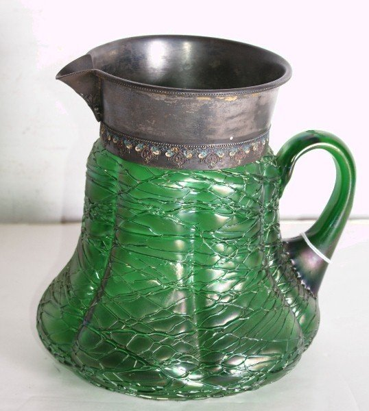 10: Large Loetz threaded art glass pitcher, unmarked. H