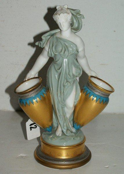12: English porcelain figural vase, probably Minton, 19