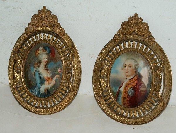 13: Two antique French portrait miniatures on ivory, un