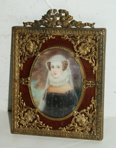 14: Antique French portrait miniature on ivory, unsigne