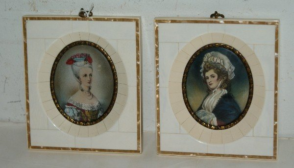 15: Two antique French portrait miniatures on ivory, un