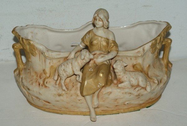 16: Royal Dux Art Nouveau figural centerpiece with impr