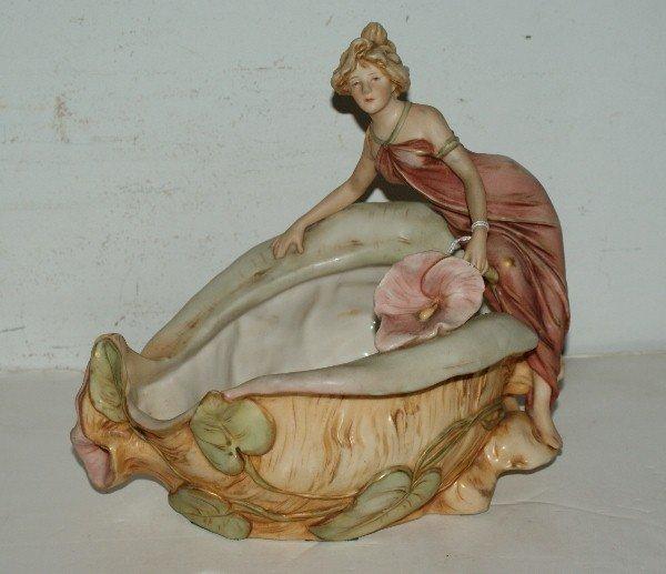 17: Royal Dux Art Nouveau figural centerpiece with impr
