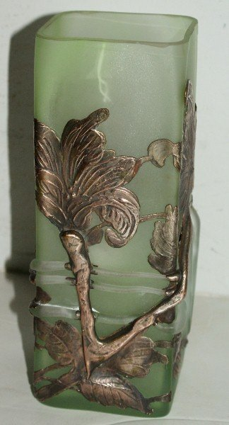 """20: Silver overlay art glass square-form vase. H: 9"""" Sq"""