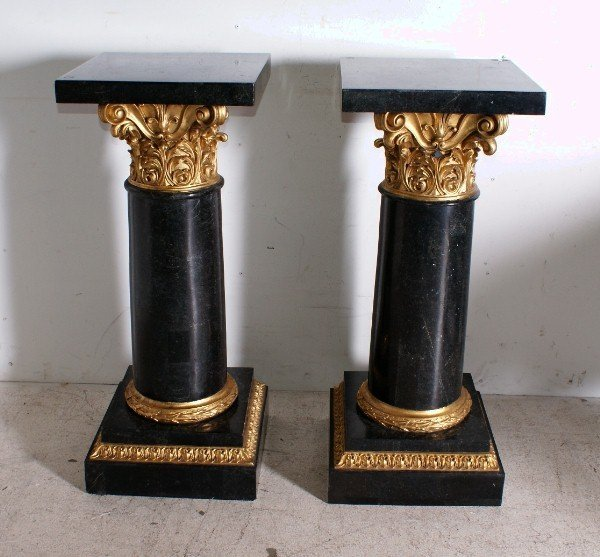 21: Pair of Continental marble veneer and gilt-wood Cor