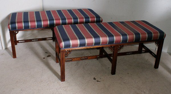23: Pair of Chinese Chippendale style carved mahogany w