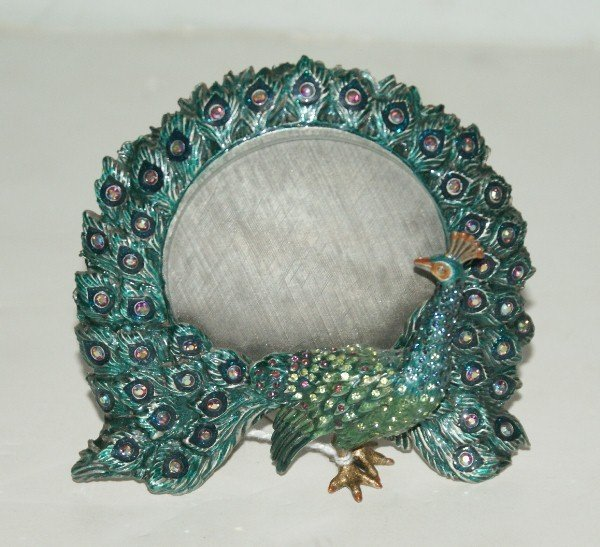 101: Jay Strongwater jeweled and enameled Peacock frame