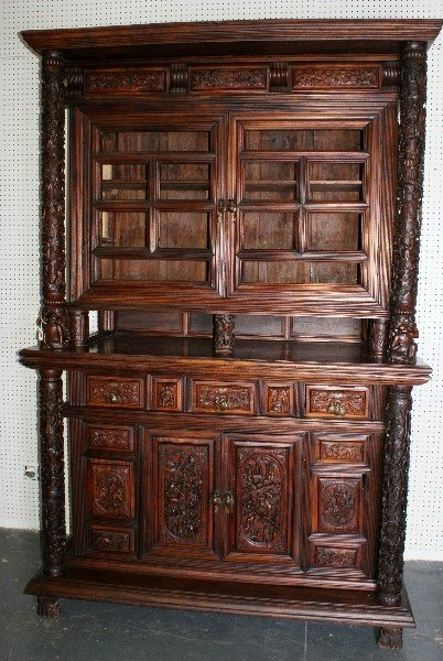 114: Chinese 19thC ornately carved rosewood  cabinet;