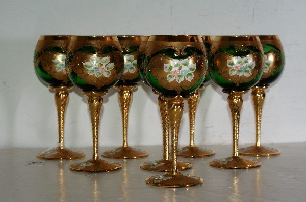 2: Set of Eight Italian green blown glass wine glasses