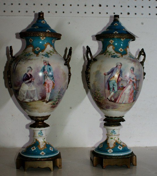 8: Pair of 19th century Sevres porcelain and bronze-mou