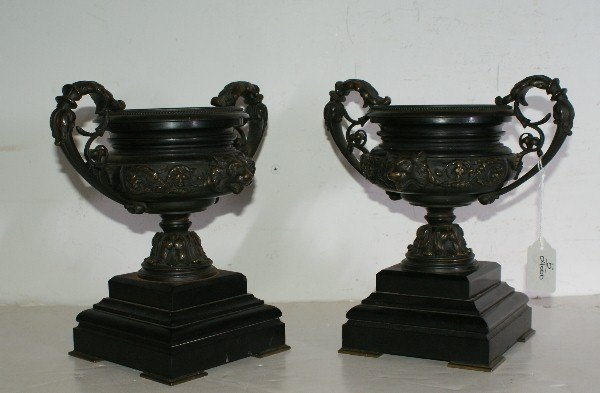9: Pair of Empire style bronze and black marble urns, 1