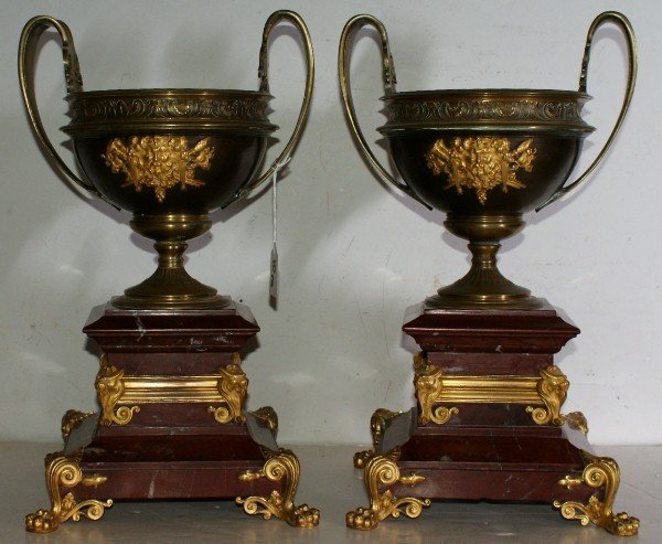 10: Impressive pair of French 19th C bronze ormolu and