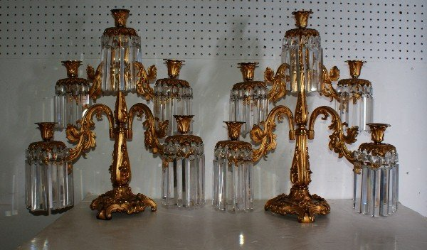 11: Very fine pair of 19th C French gilt-bronze five-br