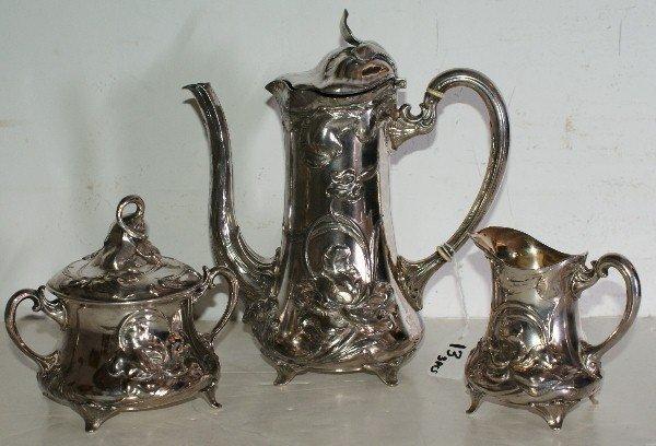 13: WMF Art Nouveau chocolate set, chocolate pot with i