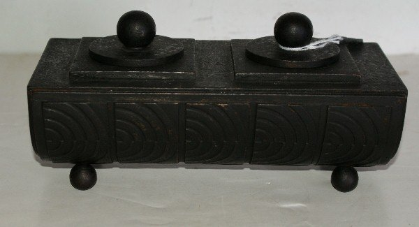 16: Edgar Brandt (French 1880-1960) iron double inkwell