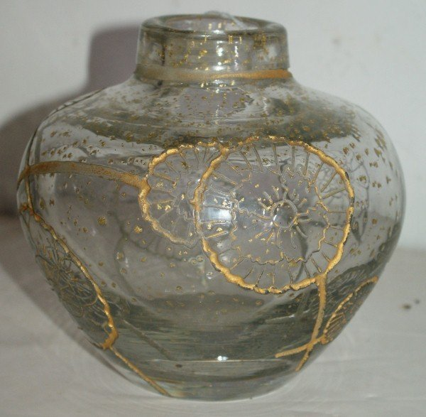17: Daum etched and gilt vase, etched: Daum Nancy with