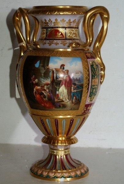 18: Royal Vienna porcelain vase with neoclassical reser
