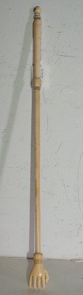 """50: Chinese carved ivory back scratcher. 17 1/4"""""""