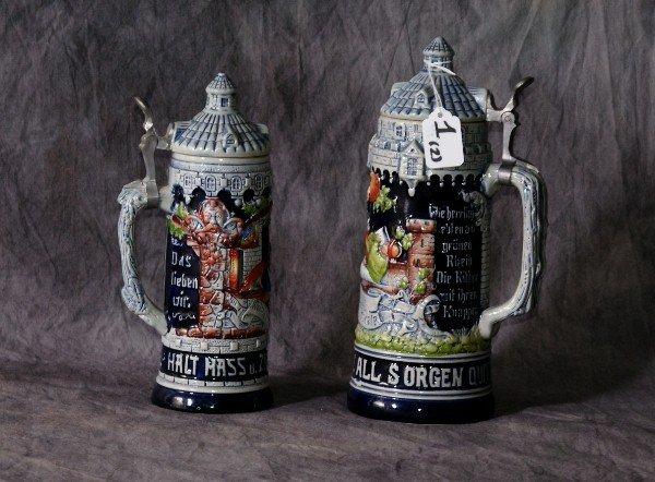 1: Two West German Beer Steins, 1/2 liter and 1 liter.
