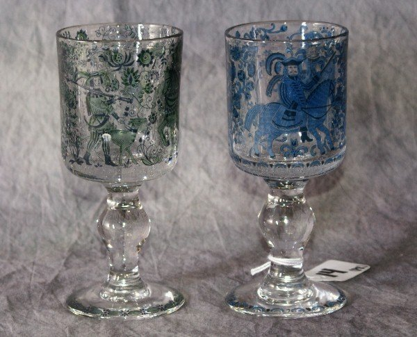 "14: Pair of Dutch enamel stem glasses. 6 1/4"""