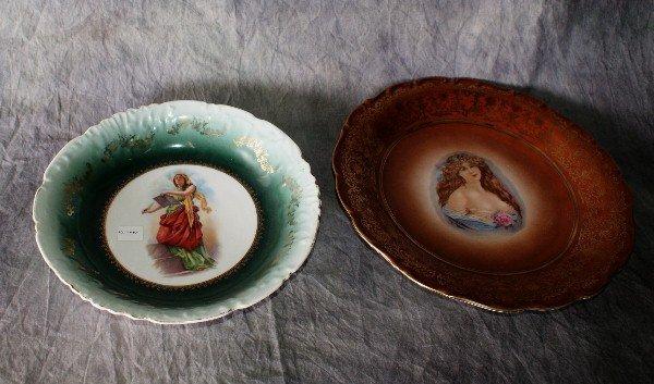 19: Two German porcelain portrait plates. Largest: 11 1