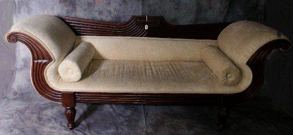 """23: Sheraton style carved mahogany sofa. H: 34"""" W: 86"""""""