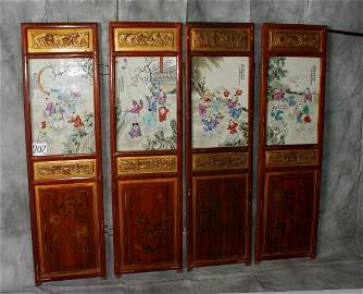 202: Four Chinese lacquer and parcel gilt wood panels w