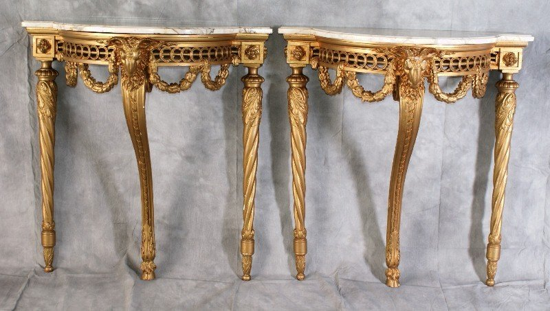 277: Pr 19th C Giltwood Marble Top Console Tables