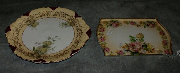 6: Hand painted plate and tray.