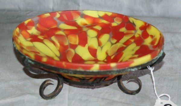 9: Art glass bowl on bronze base.