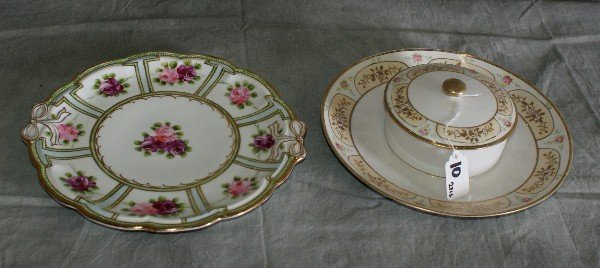 10: Nippon porcelain plate and porcelain covered bowl