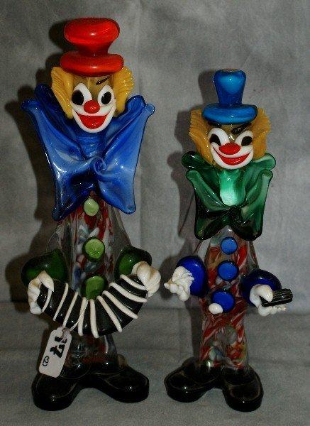 17: Two venetian glass clowns.