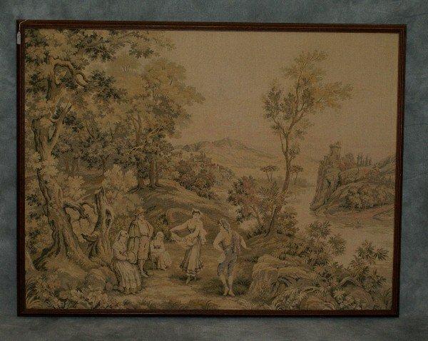 1: Large framed tapestry landscape scene with figures.