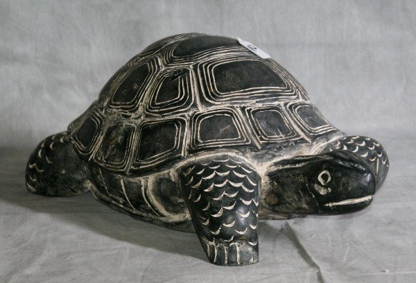 """2: Large carved painted wood tortoise. H:10"""" L:22"""" W:12"""