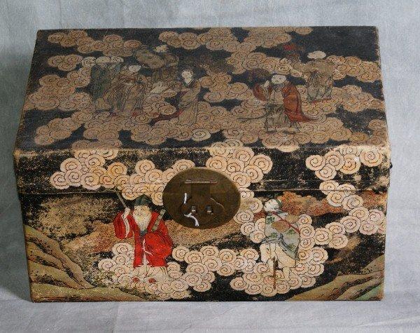3: Chinese pigskin covered chinoisserie box circa 1860.