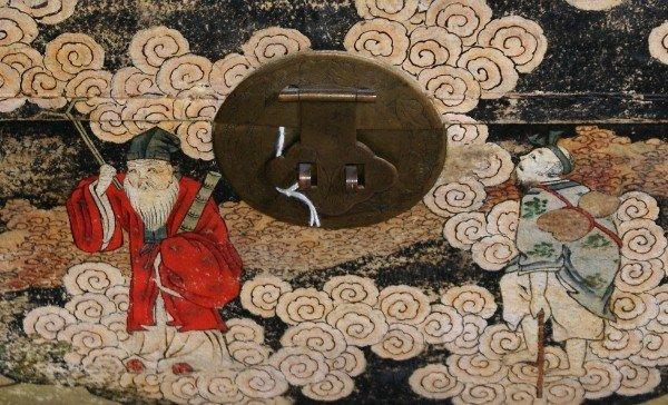 3: Chinese pigskin covered chinoisserie box circa 1860. - 2