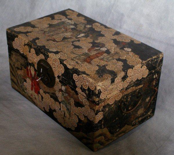3: Chinese pigskin covered chinoisserie box circa 1860. - 3