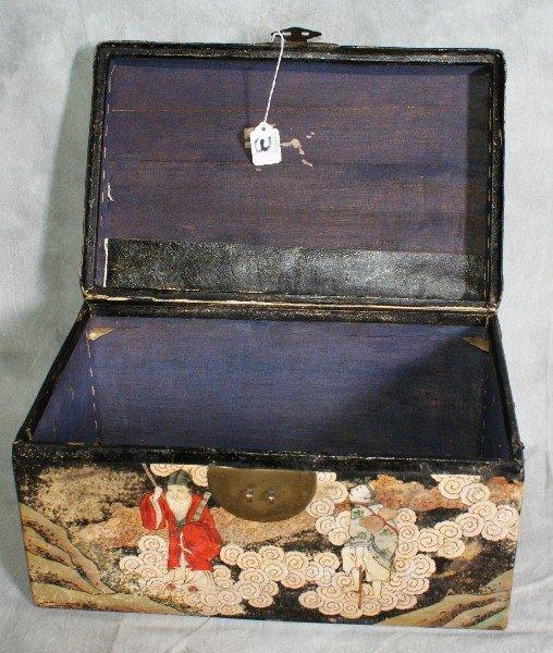 3: Chinese pigskin covered chinoisserie box circa 1860. - 4