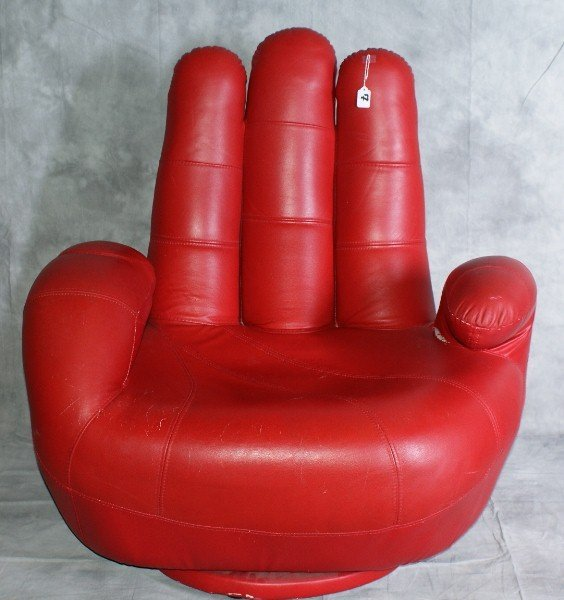 "7: Large red vinyl Glove Chair. H:40"" W:38"" D:30"""
